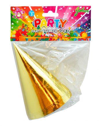 Partyhattar Guld Metallic - 6-pack - Maskeradspecialisten.se