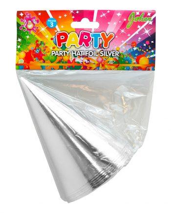 Partyhattar Silver Metallic - 6-pack - Maskeradspecialisten.se