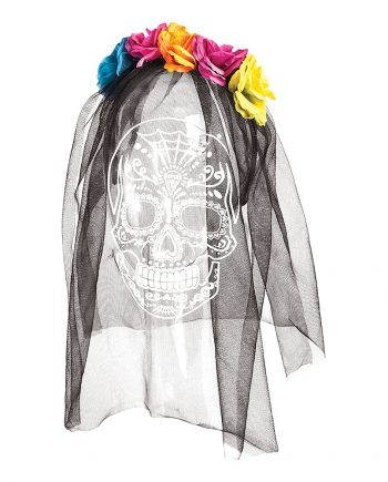 Day of the Dead Diadem med Slöja - One size - Maskeradspecialisten.se