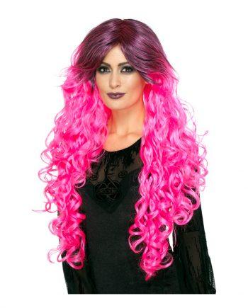 Gothic Glamour Rosa Peruk - One size - Maskeradspecialisten.se