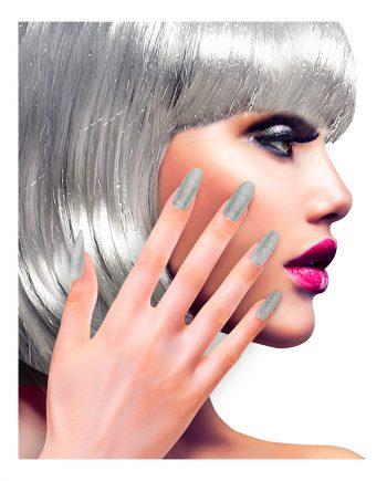 Lösnaglar Glitter Silver - 12-pack - Maskeradspecialisten.se