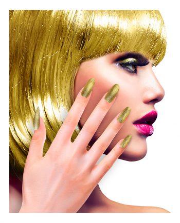 Lösnaglar Glitter Guld - 12-pack - Maskeradspecialisten.se