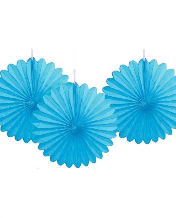 Pappersfjädrar Ljusblå Mini Hängande Dekoration - 3-pack - Maskeradspecialisten.se
