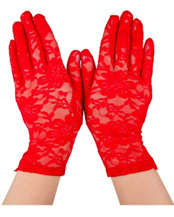 Spetshandskar Röda - One size - Maskeradspecialisten.se