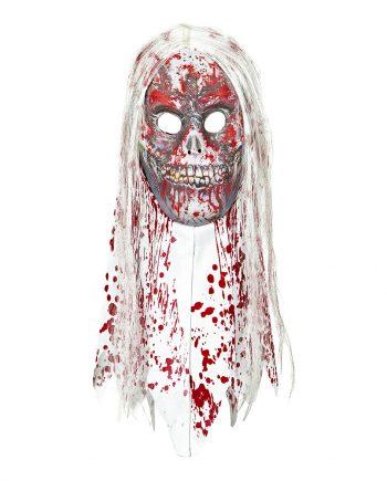Zombiemask Blodig med Hår & Krage - One size - Maskeradspecialisten.se
